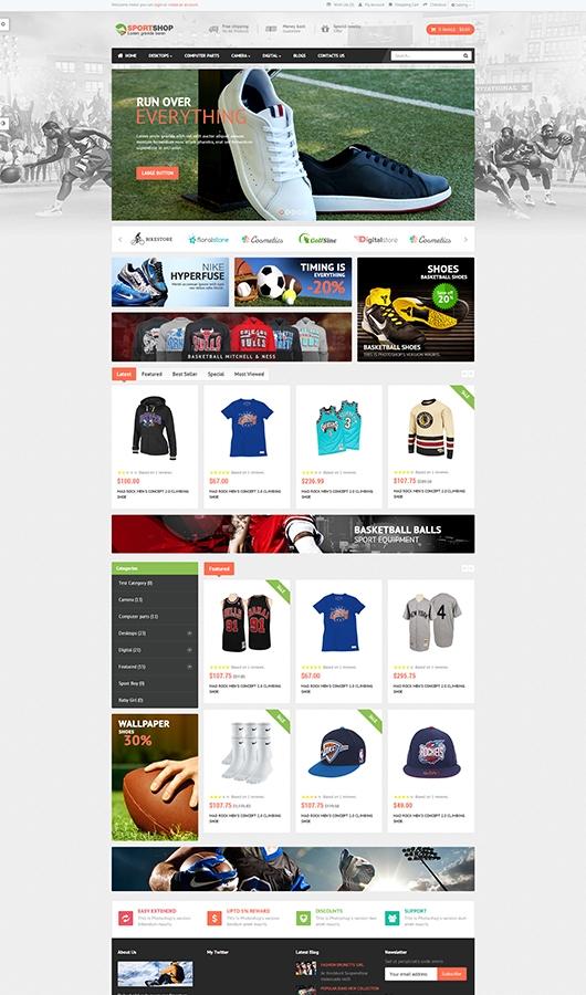 Dizainas sporto prkes ir kt. produktus parduodančiai el. parduotuvei