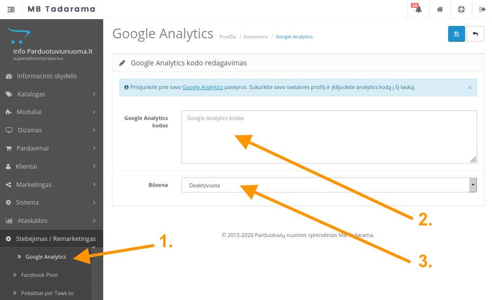 Google analytics kodo integravimo langas