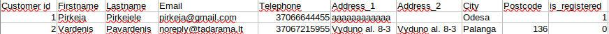 Išeksportuotų Klientų csv failo pavyzdys